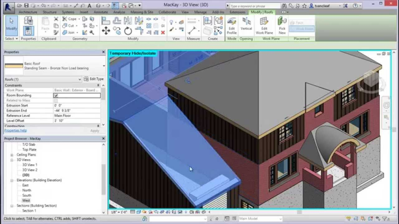 Creating Roofs By Extrusion In Revit 2014 Youtube