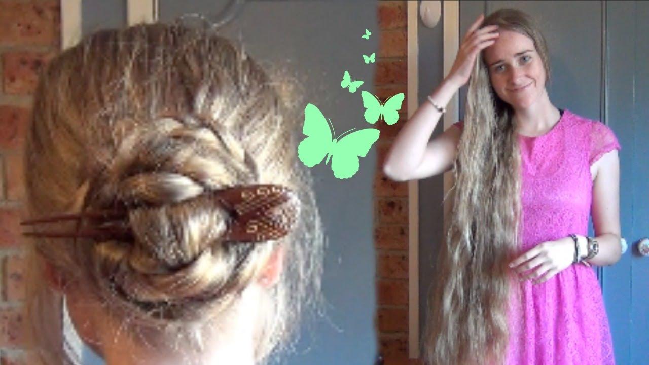 Braided Hair Fork Bun For Very Long Hair Youtube