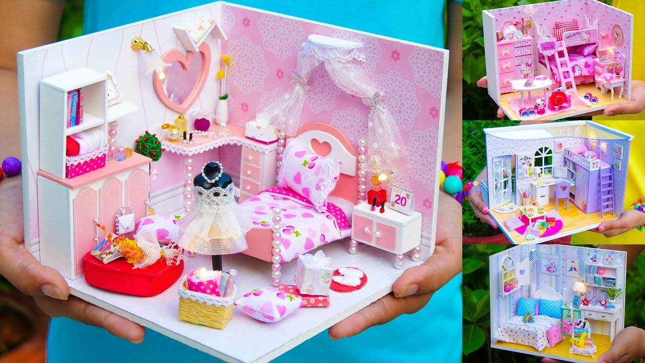 5 Diy Miniature Doll House Girl Rooms Youtube