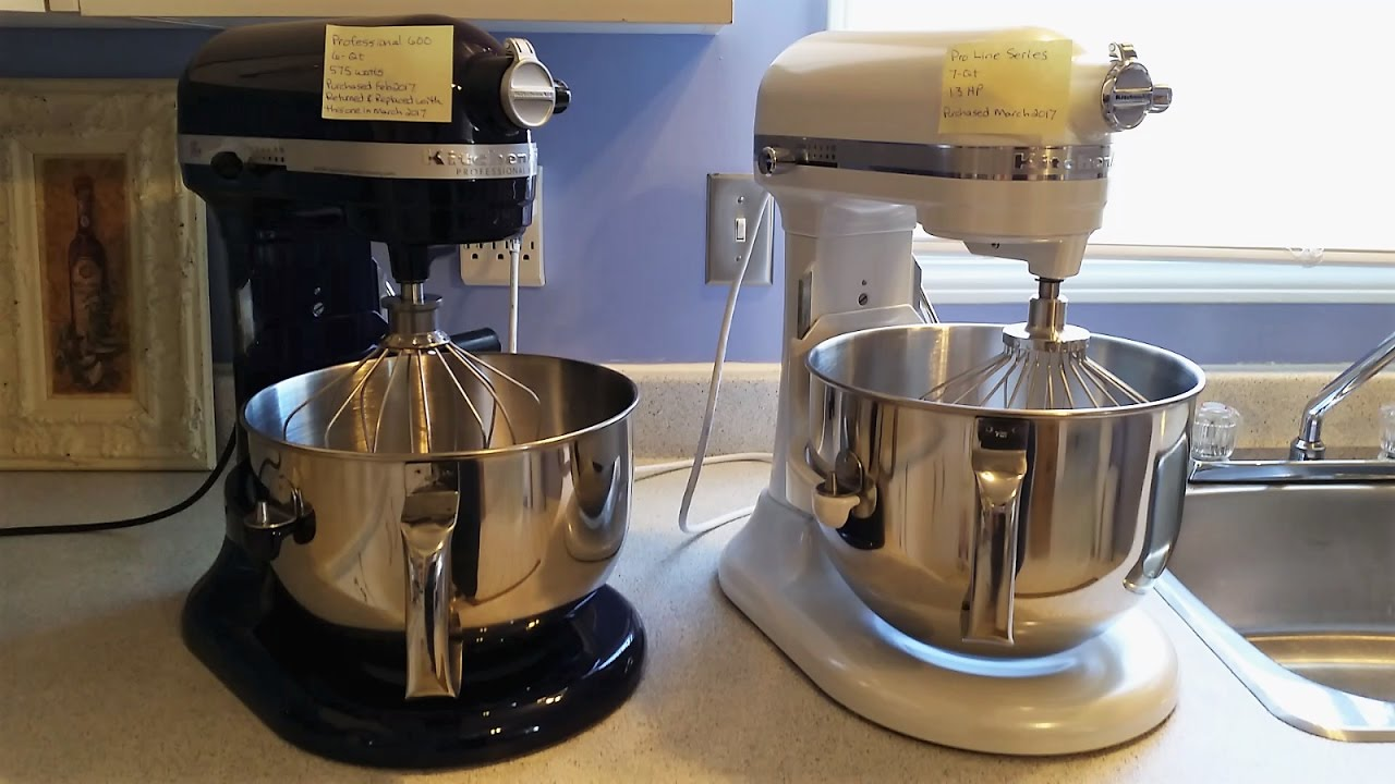 kitchenaid mixer professional 600 575w vs pro line series 1 3 hp youtube. Black Bedroom Furniture Sets. Home Design Ideas