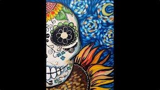 Easy Acrylic Painting  Sugar Skull  Dias de los Muertos May 5th