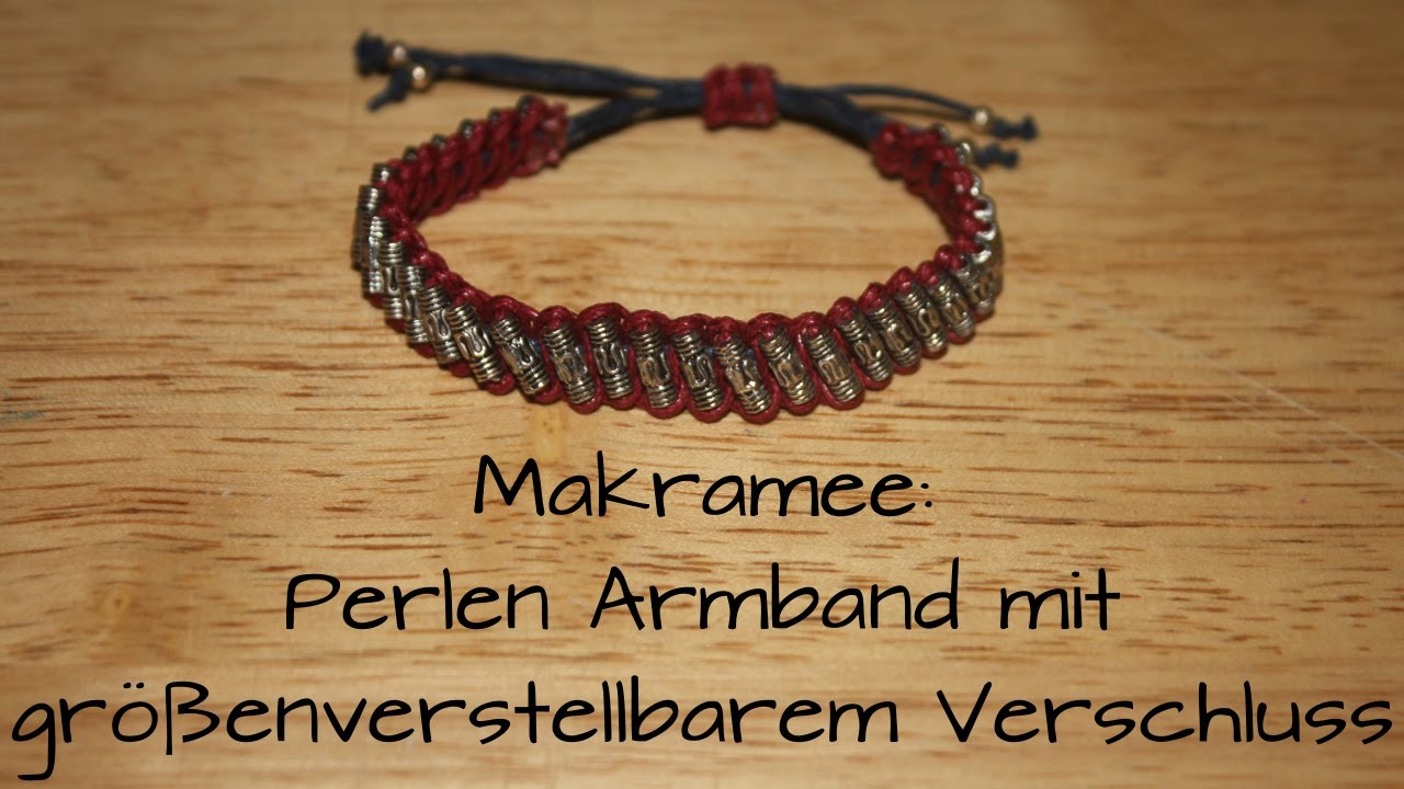 makramee perlen armband mit gr enverstellbarem verschluss diy youtube. Black Bedroom Furniture Sets. Home Design Ideas