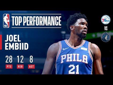 Joel Embiid Scores 28 pts & 8 asts vs Timberwolves