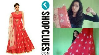 Shopclues online shopping review! shopclues haul ! red full stitched gown rs999