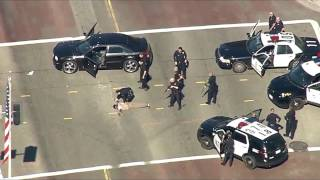 Crazy police chase with a stolen car in Los Angeles California