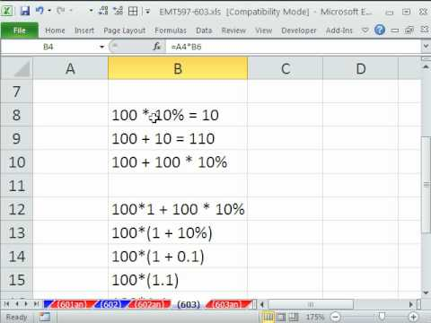 Excel Magic Trick 603: Why 100*1.1 = 110 Means Increase by ...