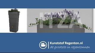 Regenton Itza 300 liter met plantzone | Kunststof regenton.nl