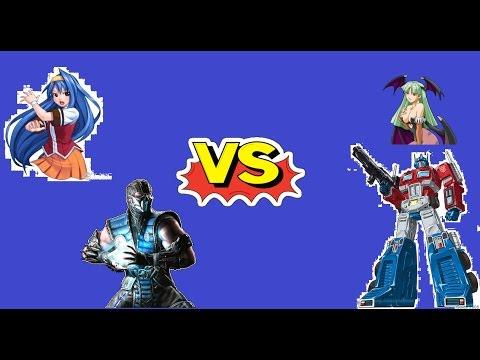 Saki-MVC And Sub-Zero Vs Morrigan And Optimus Prime MUGEN BATTLE