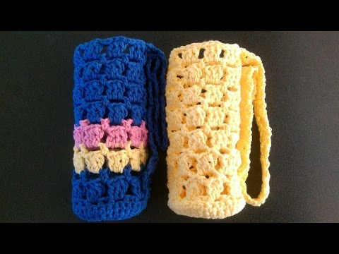 FREE Crochet Hip to Be Square Water Bottle Cozy