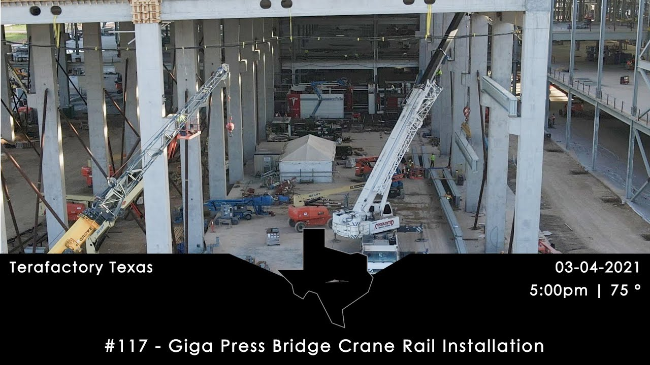 Tesla Terafactory Texas Update #117 in 4K: Giga Press Bridge Crane - 03/04/21 (5:00pm | 75°F)