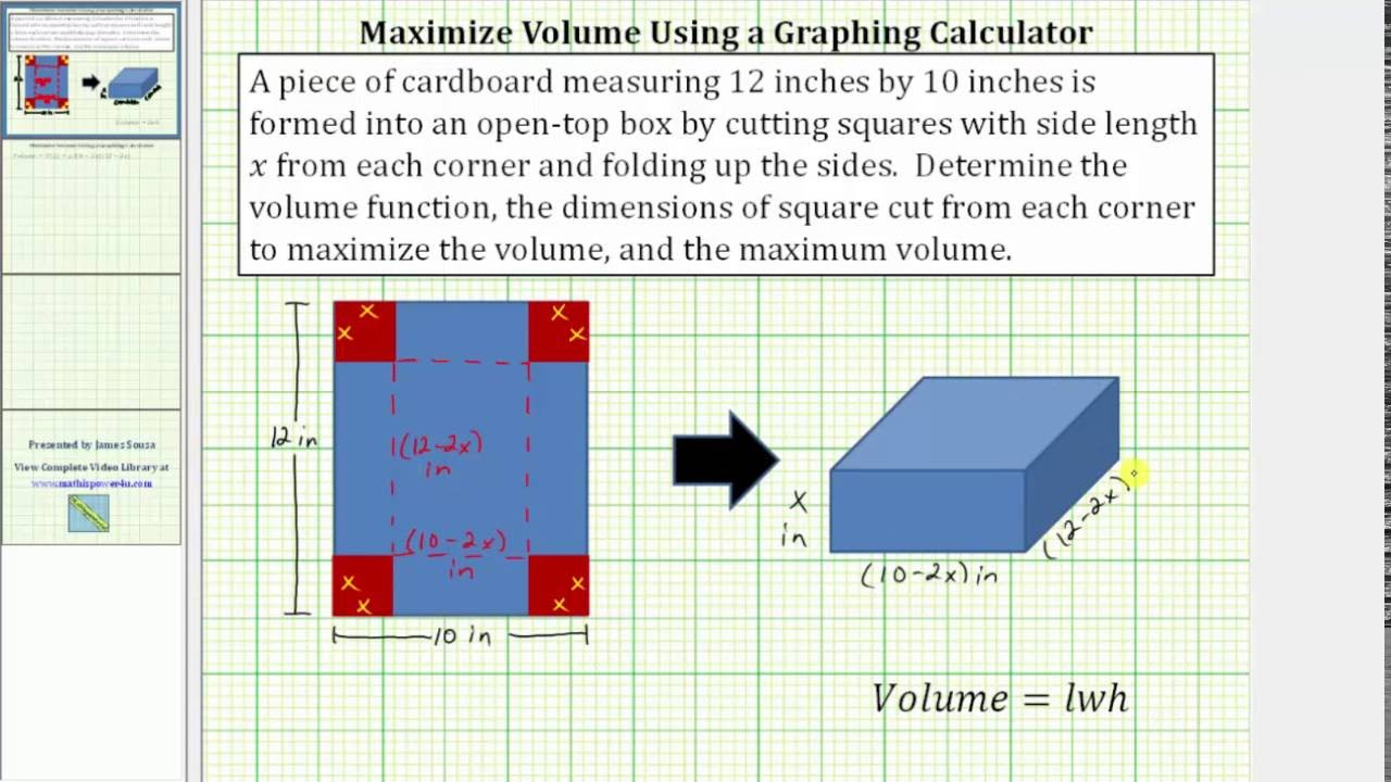 Determine The Maximum Volume Of An Open Top Box Using A