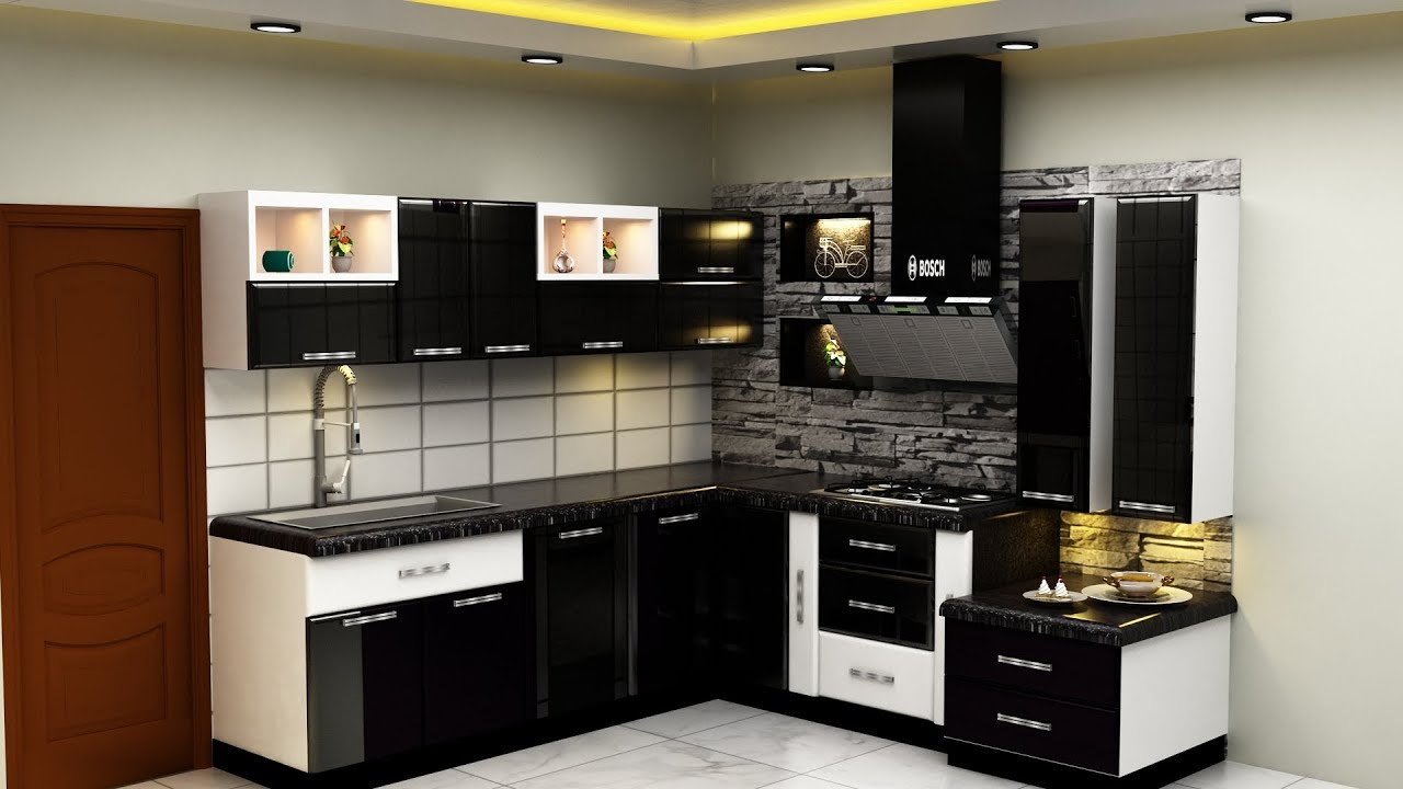 Black Kitchen Design Made With Italian High Gloss With Aluminum ...