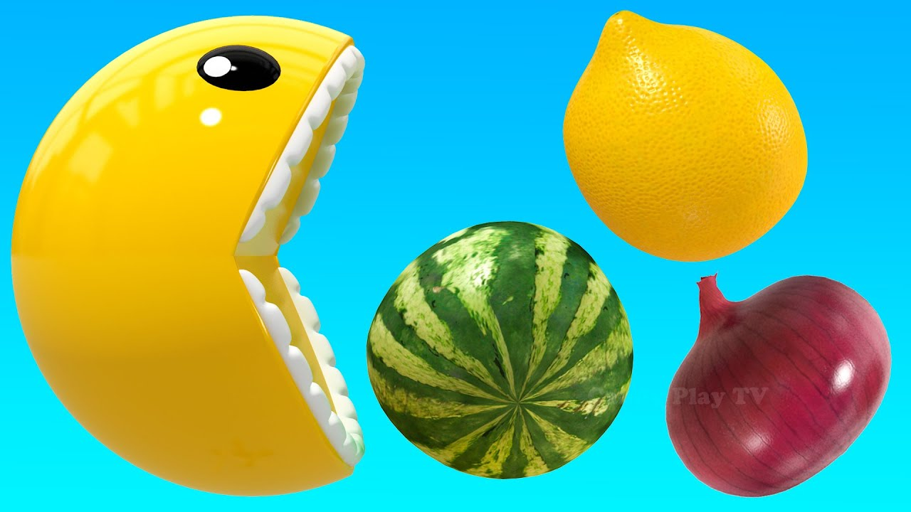 Learn 3D Fruits and Vegetables with funny PACMAN | Fun Learning Names of Fruits and Vegetables