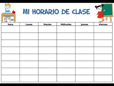 HORARIOS DE CLASES PARA ESCUELA PRIMARIA FORMATOS PARA IMPRIMIR - formatos para gafetes