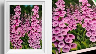 Simple Floral Painting - Foxglove - Acrylics - Relaxing Demo - Canvas Painting