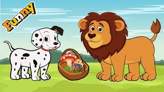 Dogs Cartoons for Children – Dalmatian and  Lion - Funny Animals Cartoons For Children