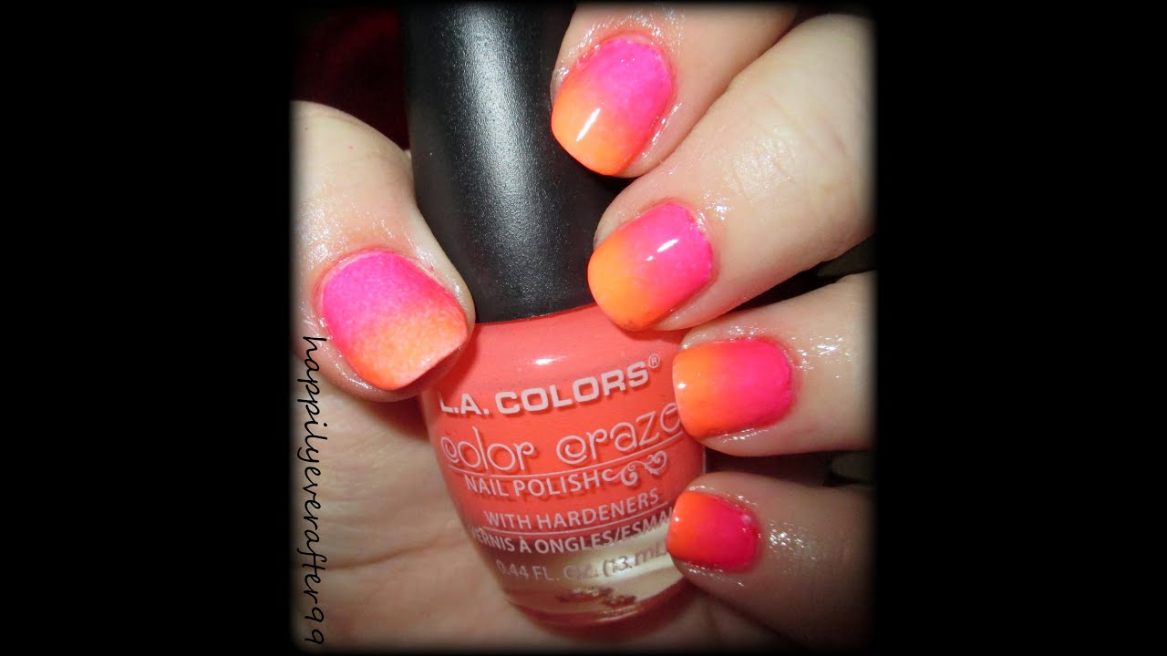 Neon Peach & Pink Ombre Nail Art - YouTube
