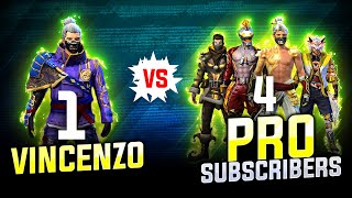 Vincenzo Vs pro Subscribers || Free fire solo vs squad intense   Highlights - Nonstop Gaming