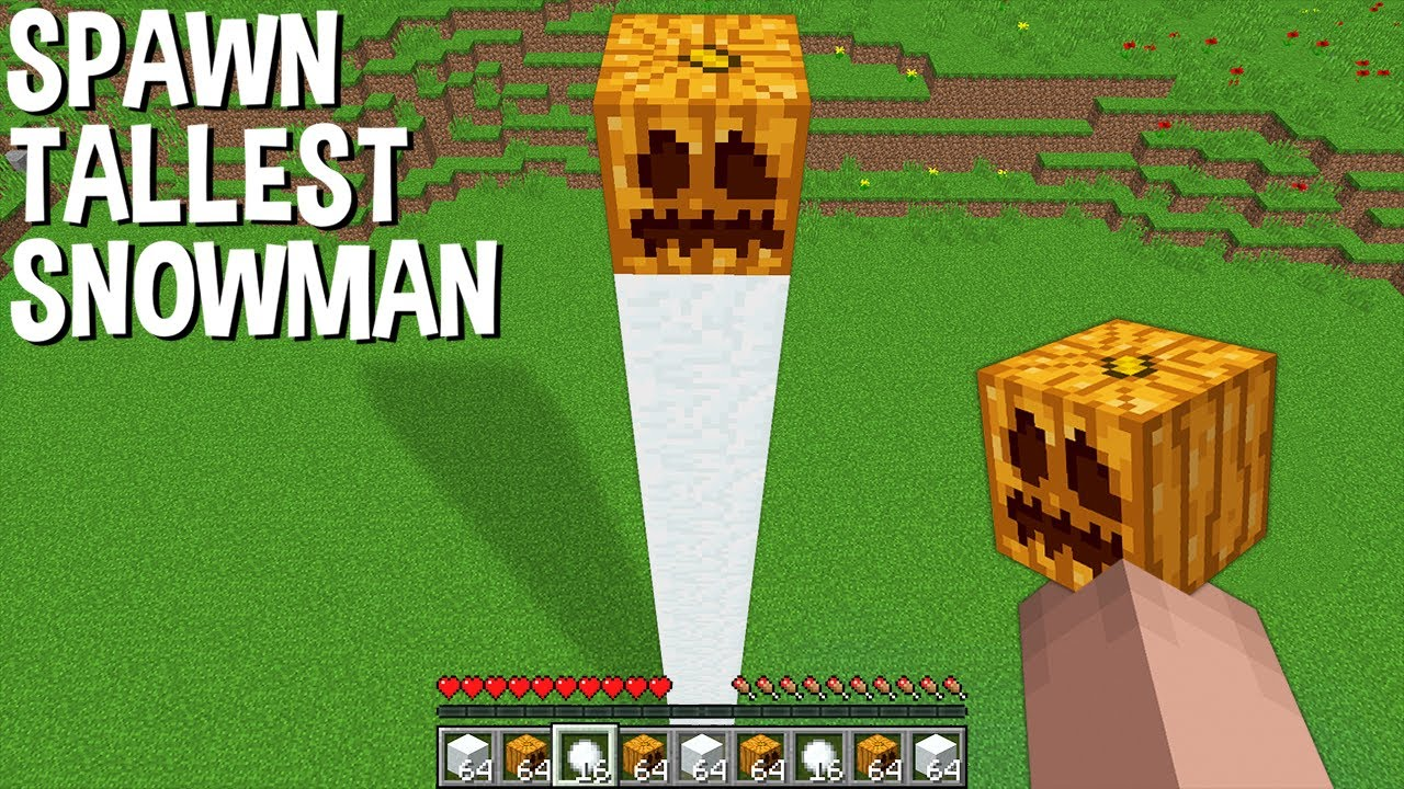 WHAT if SPAWN TALLEST SNOWMAN in Minecraft ? SUPER SNOWMAN !