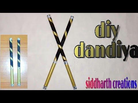 how to make dandiya ; diy news paper dandiya ; diy dandiya by siddharth creations