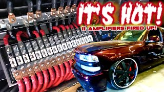 It's HOT! 11 Amplifiers Hooked up, Fused & Fired up on 17 Volts! SMD Chevy Tahoe