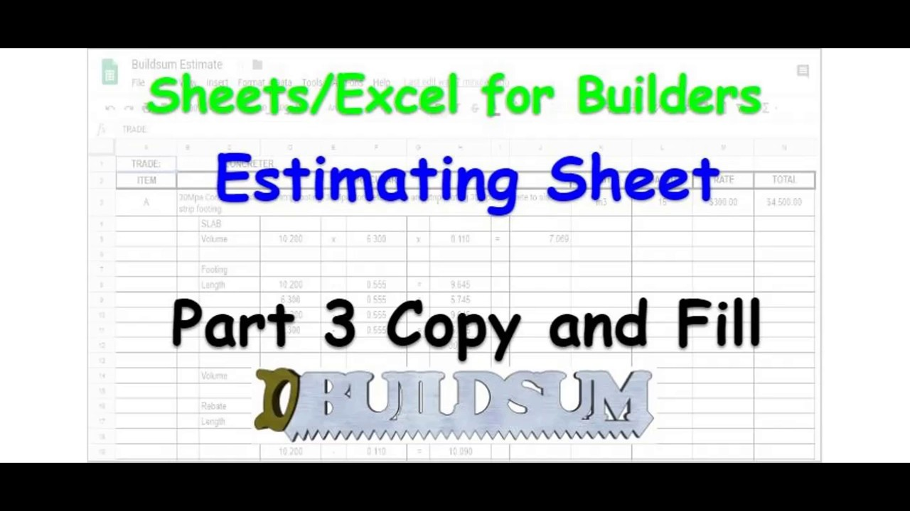 sheets excel for builders estimating sheet part 3 copy and