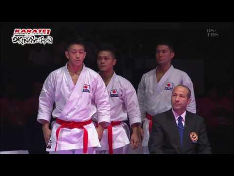 Karaté Kata 'ahnan' Team Okinawa In Karaté Premier