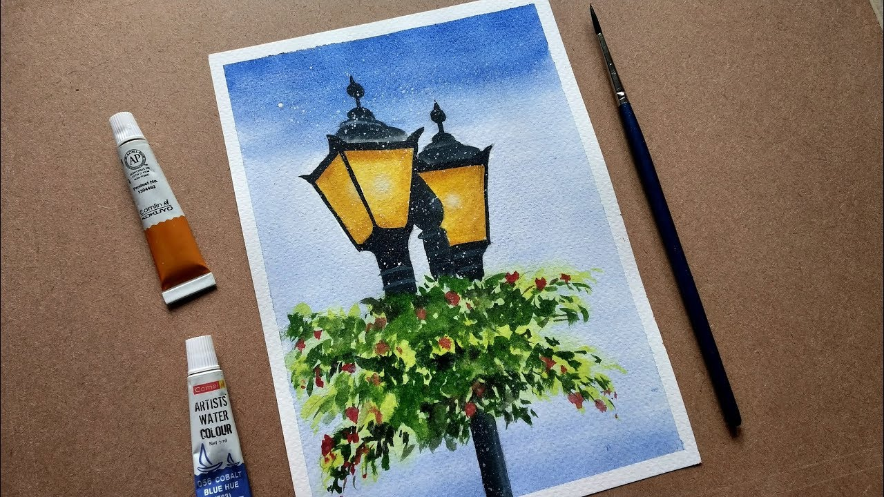 How To Draw Street Old Lantern Watercolor Painting Paint With David Youtube