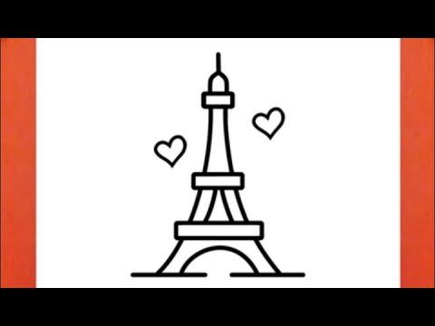 رسم برج ايفل بطريقة سهلة رسم سهل رسم برج باريس تعليم الرسم رسومات سهلة وجميلة Youtube