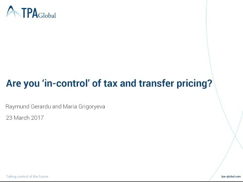 "TPA Global Top-10 Solutions: ""Are You 'In-Control' of Tax and Transfer Pricing?"""