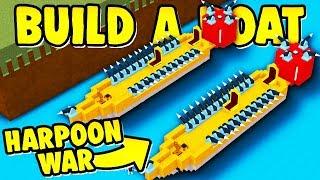 Build a Boat HARPOON PVP BATTLE ( 60+ Harpoons! )
