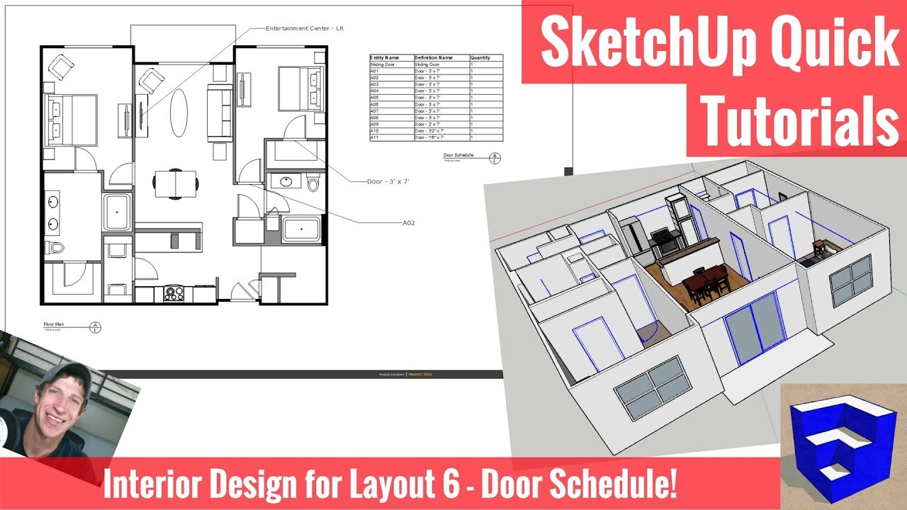 creating a door schedule in sketchup 2018 and layout interior