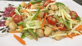 Raw Mango salad With Fried Gram Dressing | Fresh veggie salad