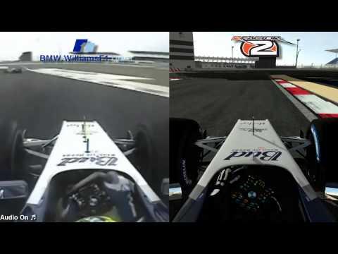 rFactor 2 (MAK-Corp) vs Real Life - 2004 Williams FW26 F1 @ Bahrain International Circuit