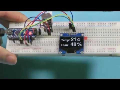 1.3 OLED самый лучший Arduino дисплей 128x64 I2C SH1106 + DHT22 RU
