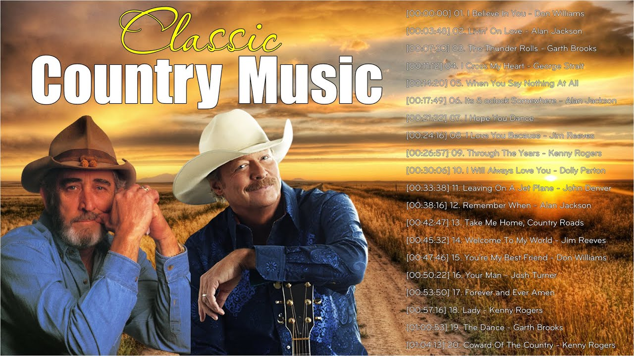 Garth Brooks, George Strait, Alan Jackson, Kenny Rogers - Top Greatest Hits Country Song 70s 80s 90s