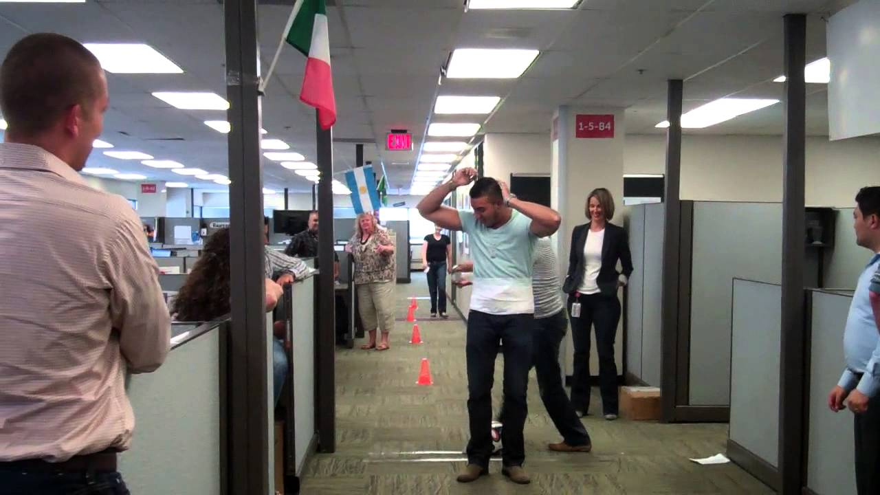 team acq office soccer obstacle course