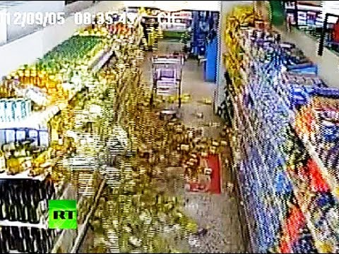 CCTV: Supermarket shelves cleared by Costa Rica quake