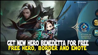 HOW TO GET BENEDETTA FOR FREE! MOBILE LEGENDS NEW HERO FOR FREE MLBB NEW UPCOMING HERO BENEDETTA ML!