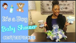 DIY Dollar Tree: It's A Boy 👶🍼 Baby Shower Centerpieces | Diaper Cake | Floral Centerpiece