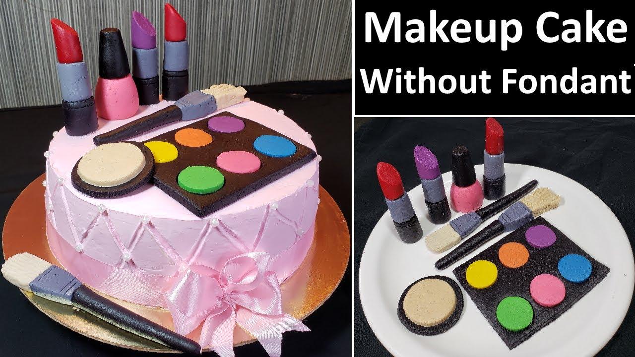 बिना फोडंट बिना टूल्स सबसे आसान मेकअप थीम केक | Eggless Makeup Cake Without Fondant | Easy makeup ca