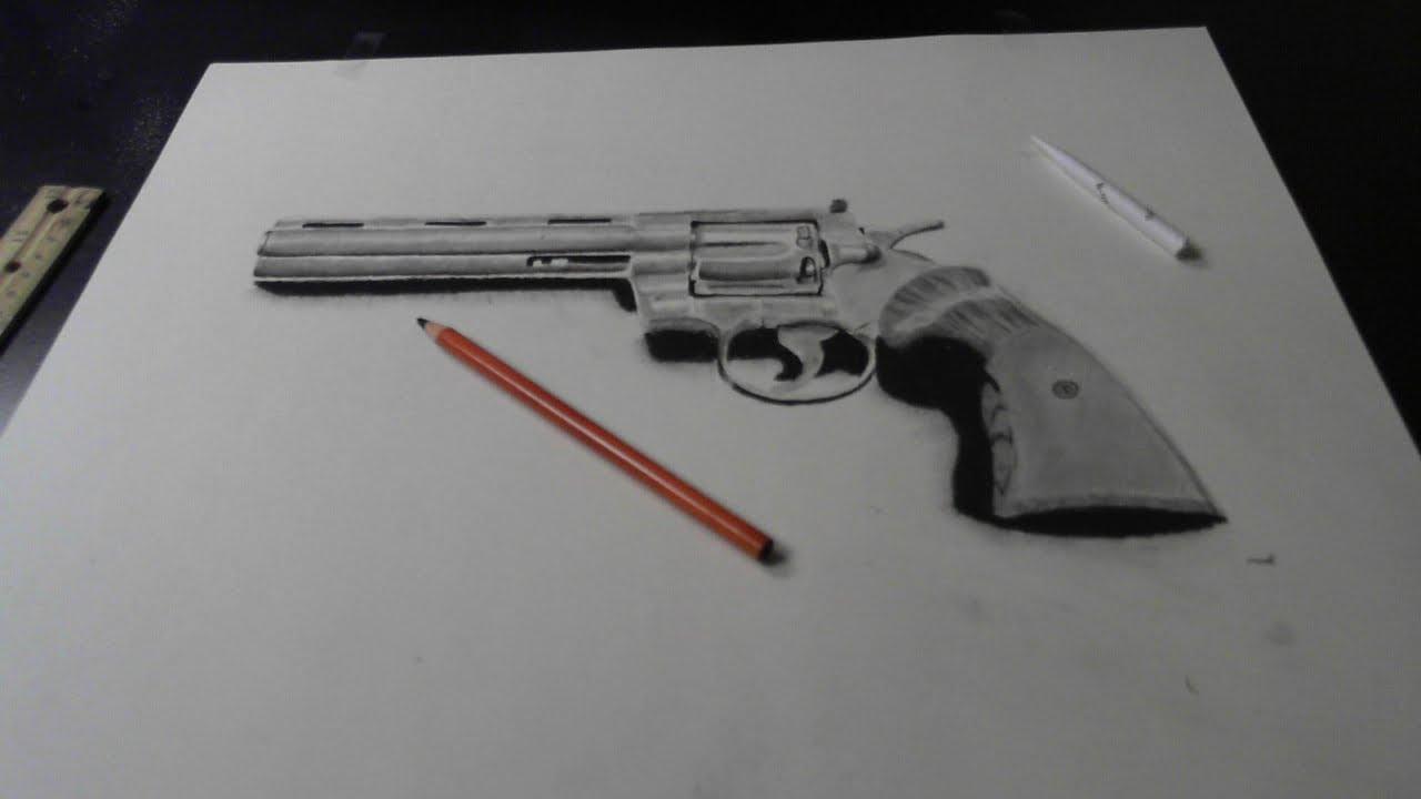 Revolver Gun Pencil Drawing | www.imgkid.com - The Image ...