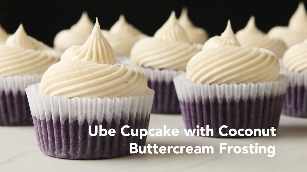 Ube Cupcakes With Coconut Buttercream Frosting Recipe