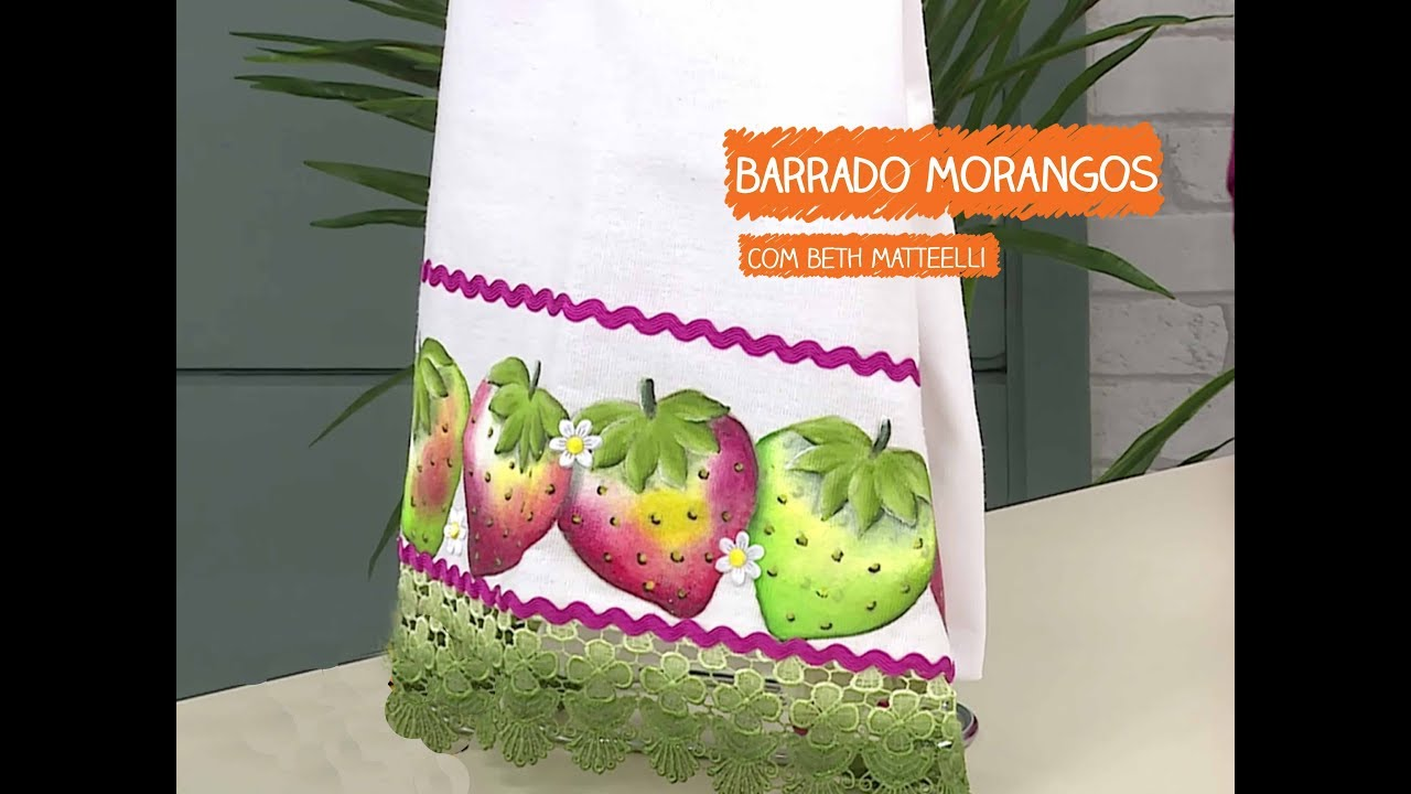 Adesivo De Parede Sala ~ Pano de Copa Barrado com Morangos com Beth Matteelli Vitrine do Artesanato na TV Rede