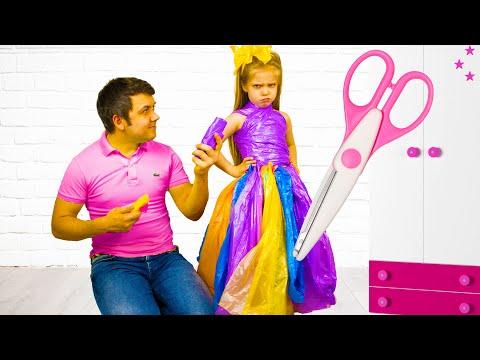 Настя и папа делают сами платья для вечеринки/Nastya makes a new dress for party - Cool DIY Ideas