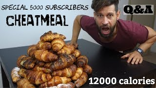 12000 Calorie Challenge - Special 5000 Subscribers - Cheat Meal - 50 Croissants - Q&A (ENG SUB)