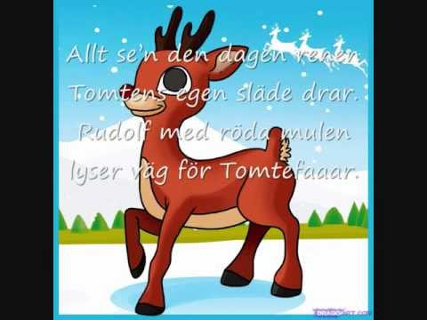 Rudolf med röda mulen (med text)