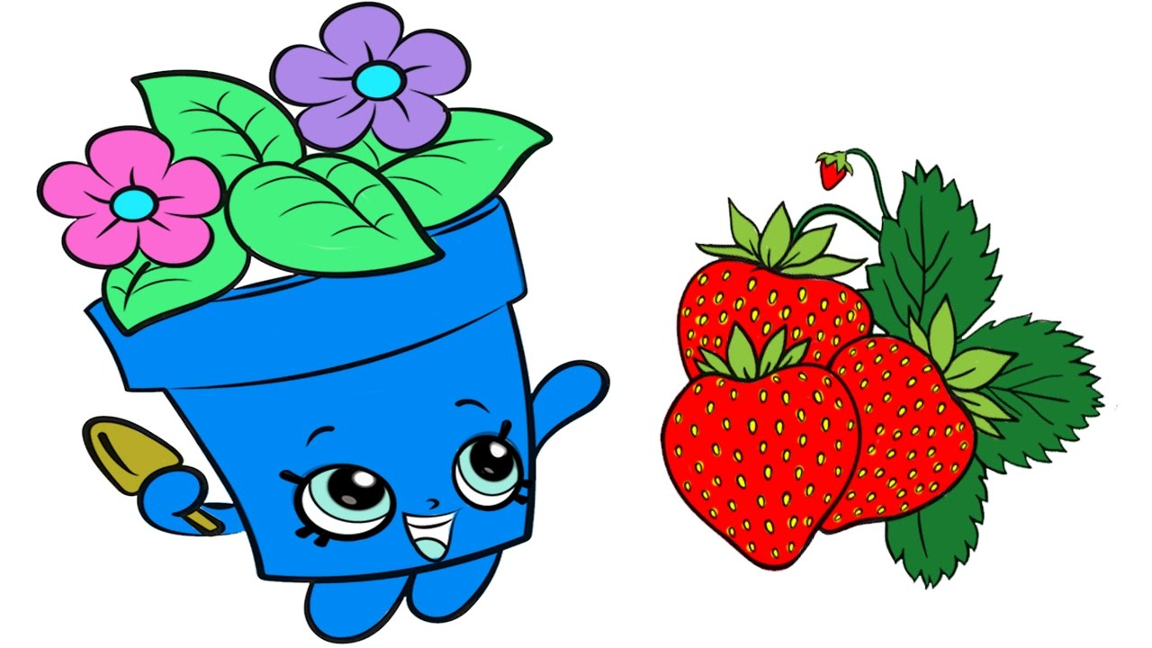 coloring pages shopkins peta plant cupcake and strawberry fruit