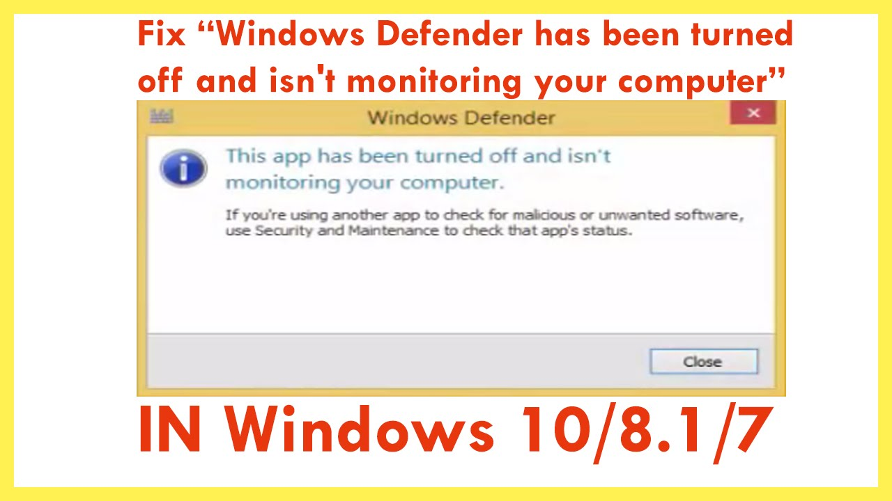 windows defender app turned off