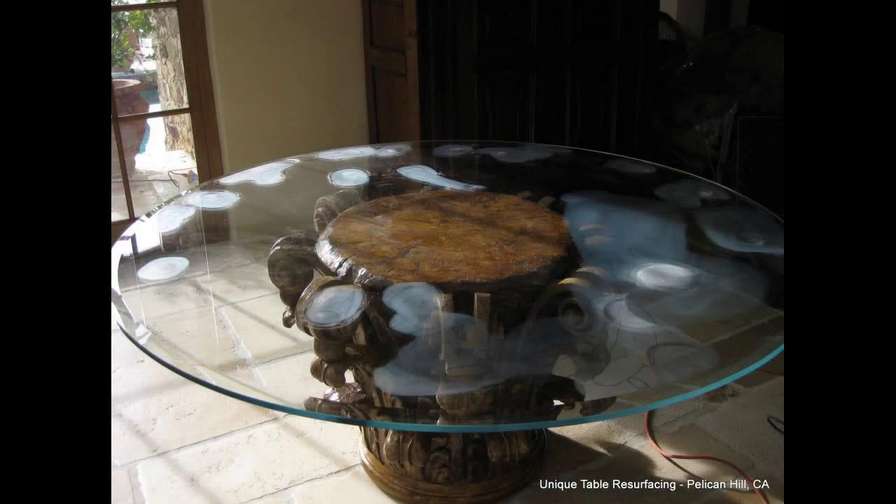 Scratched Gl Table Resurfaced Polished Newport Beach Ca